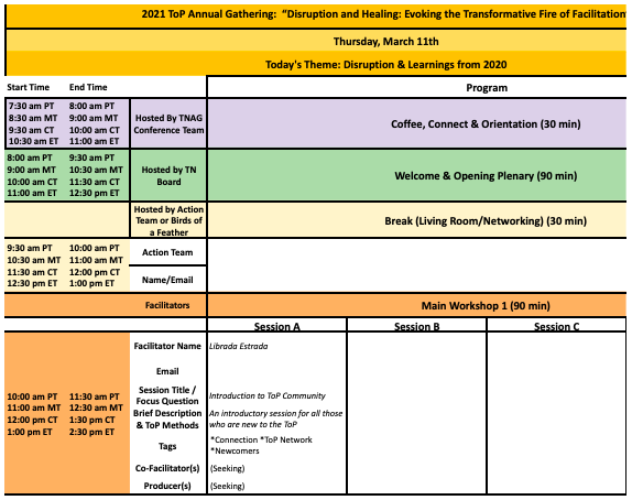 ToP Network Virtual Annual Gathering Sample Schedule Grid